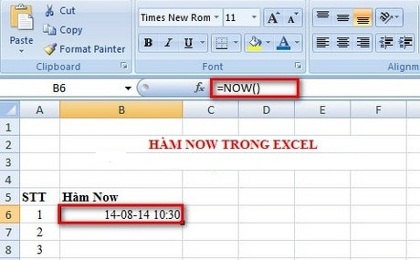 Hàm Now trong Excel